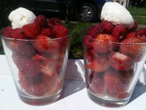 aardbeien met slagroom